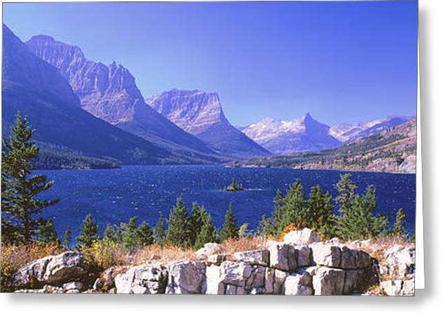 Montana Mountains Greeting Cards - Lake With Mountain Range Greeting Card by Panoramic Images