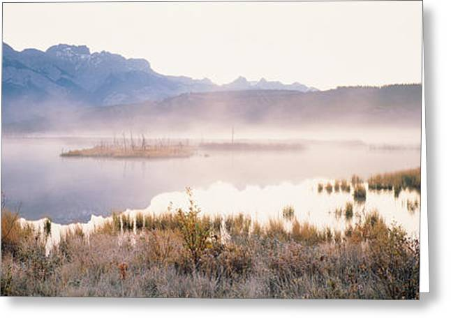 Reflection In Water Greeting Cards - Lake With Mountains In The Background Greeting Card by Panoramic Images