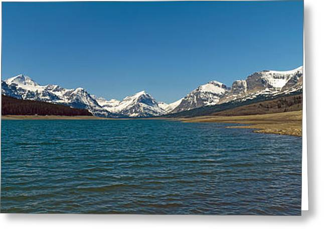 Montana Mountains Greeting Cards - Lake With Snow Covered Mountains Greeting Card by Panoramic Images