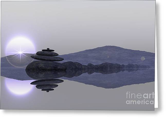 Zen Rock Stacking Greeting Cards - Lake With Stacked Stones Greeting Card by Aleksey Tugolukov