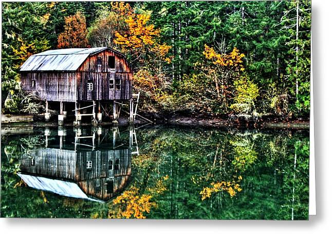 Reflecting Water Photographs Greeting Cards - Lakebay Autumn Greeting Card by Benjamin Yeager