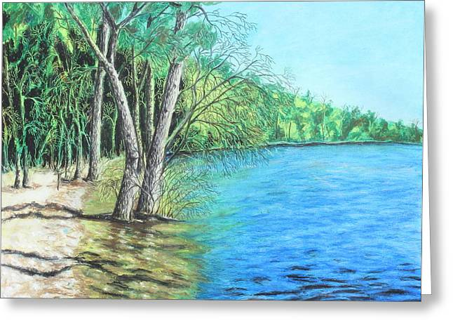 Tree Lines Pastels Greeting Cards - Lakeland 2 Greeting Card by Jeanne Fischer