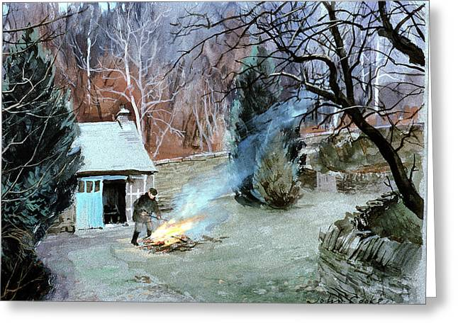 Shed Photographs Greeting Cards - Lakeland Bonfire, 1996 Gouache Greeting Card by John Cooke