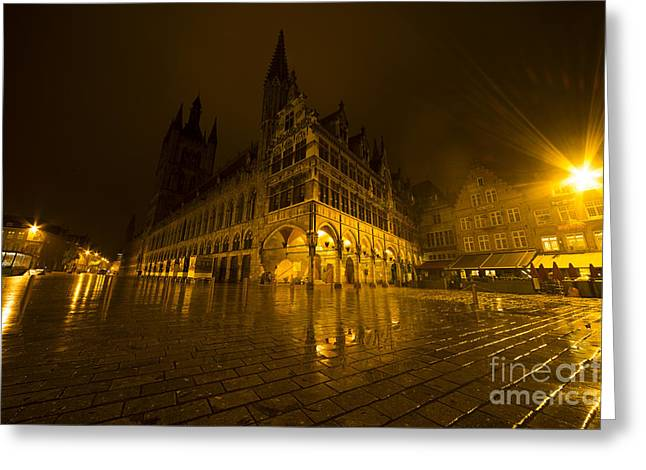 Ypres Greeting Cards - Lakenhalle la nuit Greeting Card by Rob Hawkins
