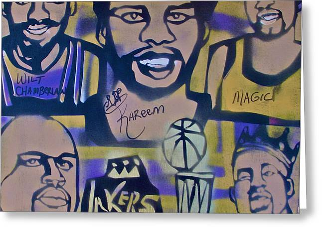 Lakers Paintings Greeting Cards - Laker Love Greeting Card by Tony B Conscious