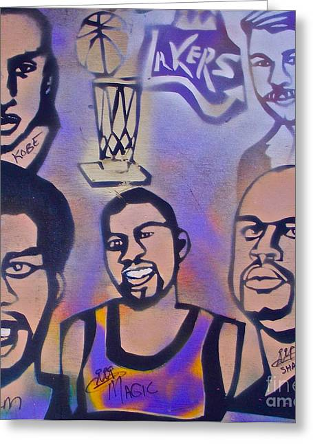 Bryant Paintings Greeting Cards - Lakers love Jerry Buss 1 Greeting Card by Tony B Conscious