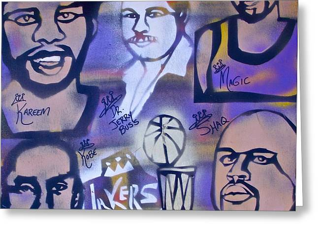 Lakers Paintings Greeting Cards - Lakers love JERRY BUSS 2 Greeting Card by Tony B Conscious
