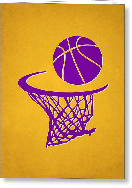 Recently Sold -  - Dunk Greeting Cards - Lakers Team Hoop2 Greeting Card by Joe Hamilton