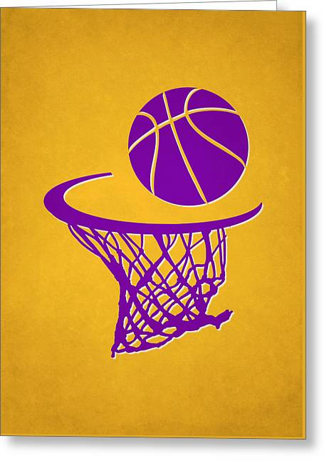 Los Angeles Lakers Greeting Cards - Lakers Team Hoop2 Greeting Card by Joe Hamilton