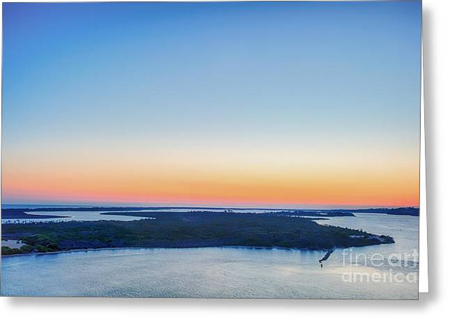 Port Town Greeting Cards - Lakes Entrance Sunset Greeting Card by Ray Warren