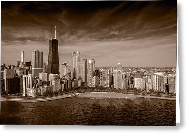 Lakeshore Greeting Cards - Lakeshore Chicago Aloft BW Greeting Card by Steve Gadomski