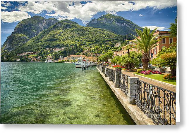 Northern Italy Greeting Cards - Lakeshore Promenade View Greeting Card by George Oze