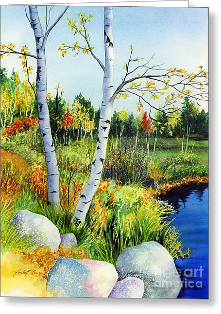 Refection Greeting Cards - Lakeside Birches Greeting Card by Hailey E Herrera