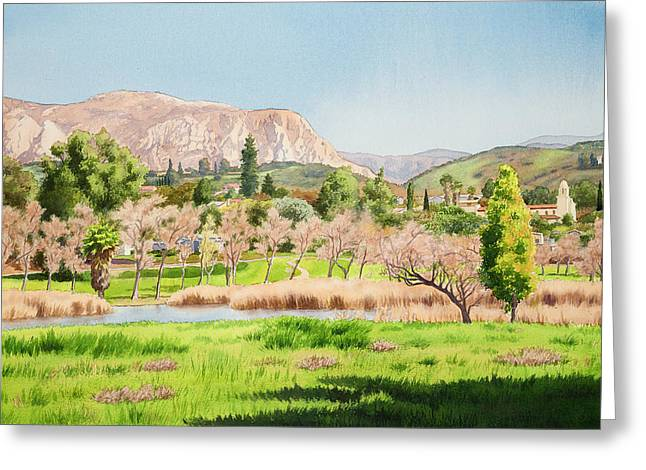 El Capitan Paintings Greeting Cards - Lakeside California Greeting Card by Mary Helmreich
