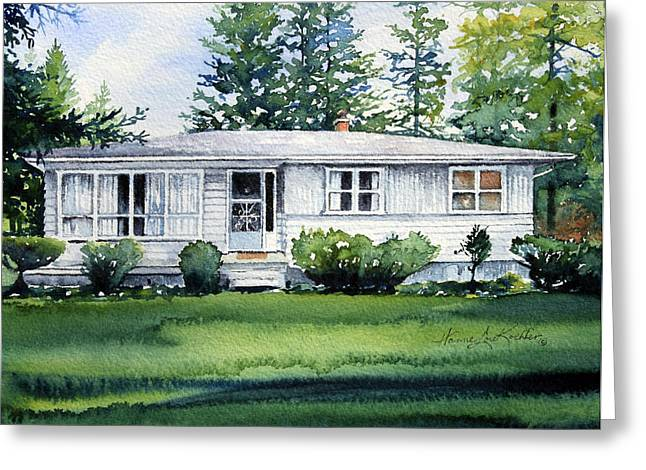 Vacation Spots Greeting Cards - Lakeside Cottage Greeting Card by Hanne Lore Koehler