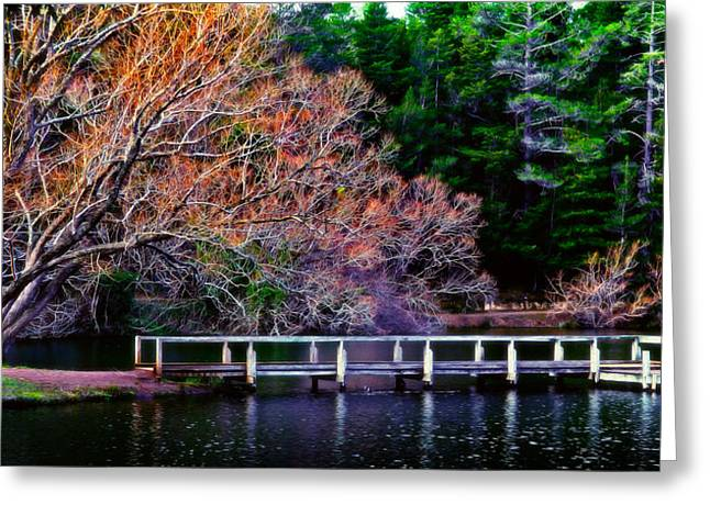 Russ Brown Greeting Cards - Lakeside Greeting Card by Russ Brown