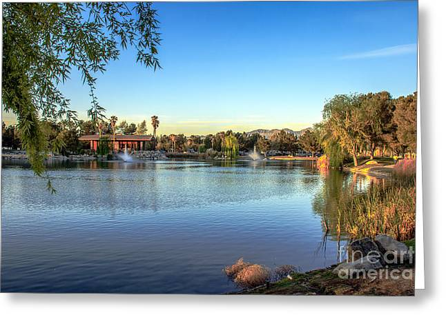 Haybale Greeting Cards - Lakeside RV Park Greeting Card by Robert Bales