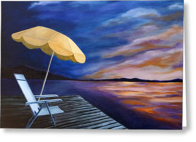 Lawn Chair Greeting Cards - Lakeside Sunset Greeting Card by Michelle Joseph-Long