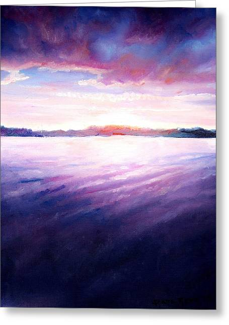 Lakeside Sunset Greeting Card by Shana Rowe Jackson