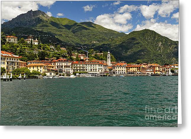 Lakeside View Of Bellagio  On Lake Como Greeting Card by George Oze