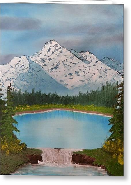 Lakeside Waterfall Greeting Card by Jared Swanson