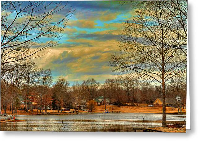 Warm Tones Greeting Cards - Lakeside Winter Greeting Card by Barry Jones