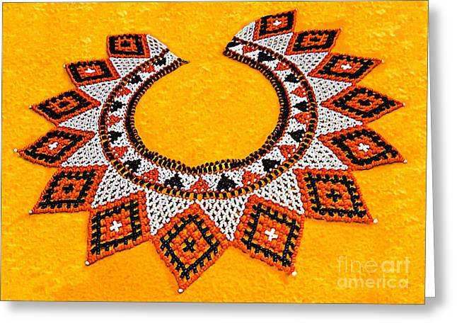 20th Greeting Cards - Lakota Souix Dance Collar Greeting Card by  Bob and Nadine Johnston
