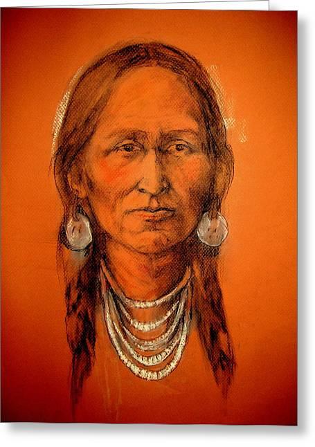 Native American Theme Greeting Cards - Lakota Woman Greeting Card by Johanna Elik
