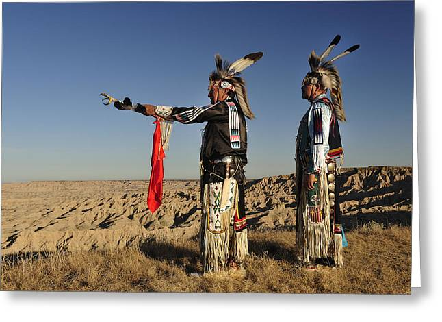 Indian Warriors Photographs Greeting Cards - Lakotas in the Badlands Greeting Card by Christian Heeb