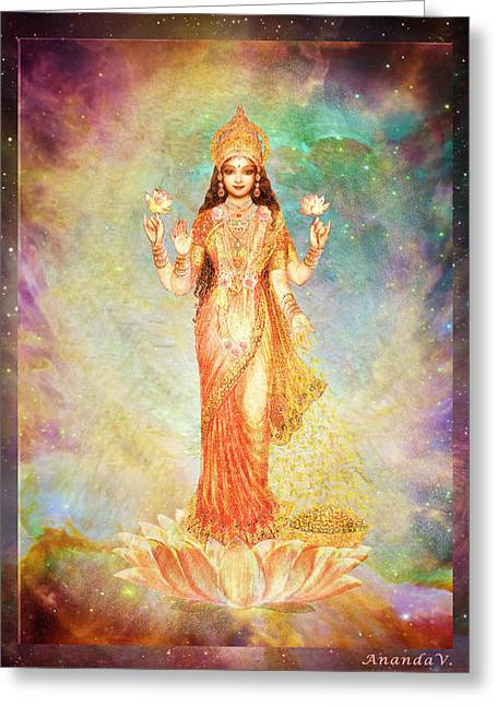 Goddess Print Greeting Cards - Lakshmi floating in a Galaxy Greeting Card by Ananda Vdovic