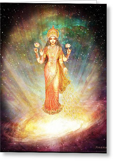 Devotional Mixed Media Greeting Cards - Lakshmi Goddess of Abundance rising from a galaxy Greeting Card by Ananda Vdovic