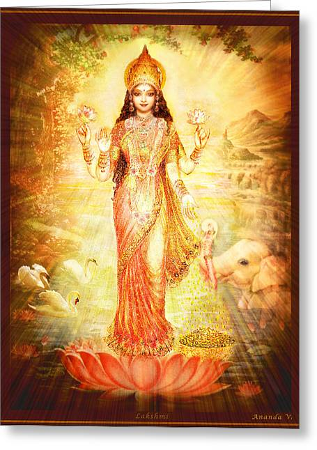 Devotional Mixed Media Greeting Cards - Lakshmi Goddess of Fortune Greeting Card by Ananda Vdovic