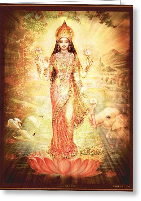 Wealth Mixed Media Greeting Cards - Lakshmi Goddess of Fortune vintage Greeting Card by Ananda Vdovic