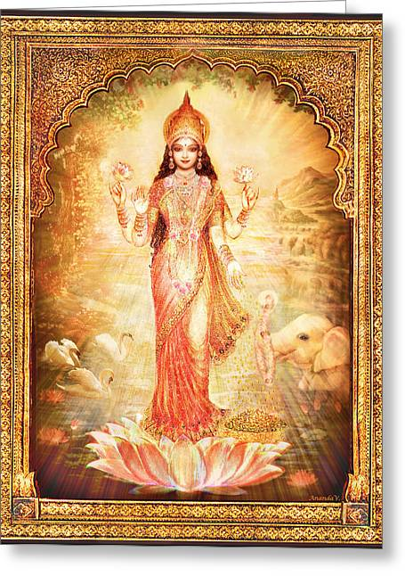 Devotional Art Mixed Media Greeting Cards - Lakshmi Goddess of Fortune with lighter frame Greeting Card by Ananda Vdovic