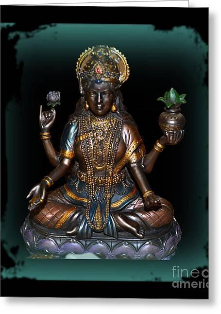 Hindu Goddess Greeting Cards - Lakshmi Hindu Goddess Greeting Card by Eva Thomas