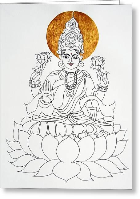 Hindu Goddess Greeting Cards - Lakshmi Greeting Card by Kruti Shah