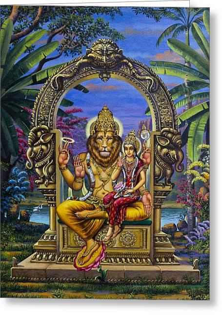 Chakra Paintings Greeting Cards - Lakshmi Narasimha Greeting Card by Vrindavan Das