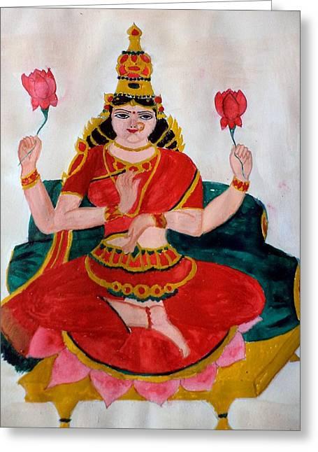 Hindu Goddess Paintings Greeting Cards - Lakshmi Greeting Card by Pratyasha Nithin