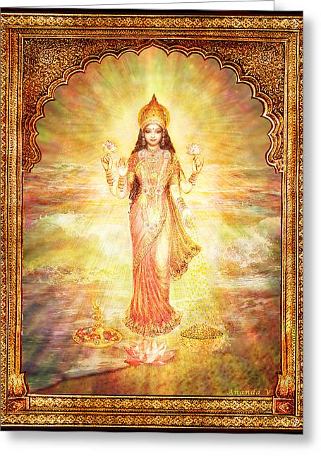 Goddess Print Greeting Cards - Lakshmi the Goddess of Fortune and Abundance Greeting Card by Ananda Vdovic