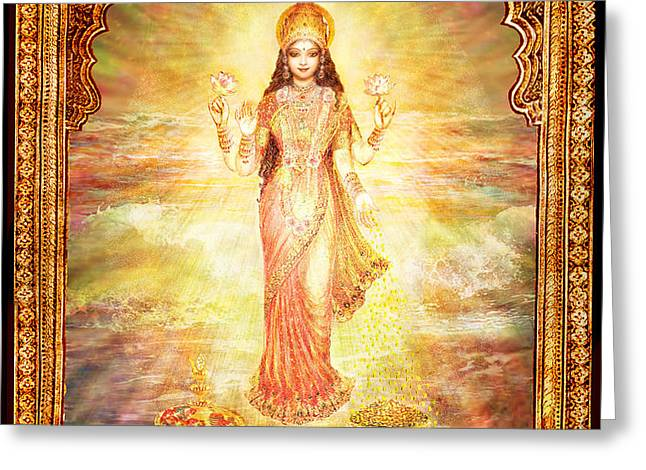 Lakshmi the Goddess of Fortune and Abundance Greeting Card by Ananda Vdovic