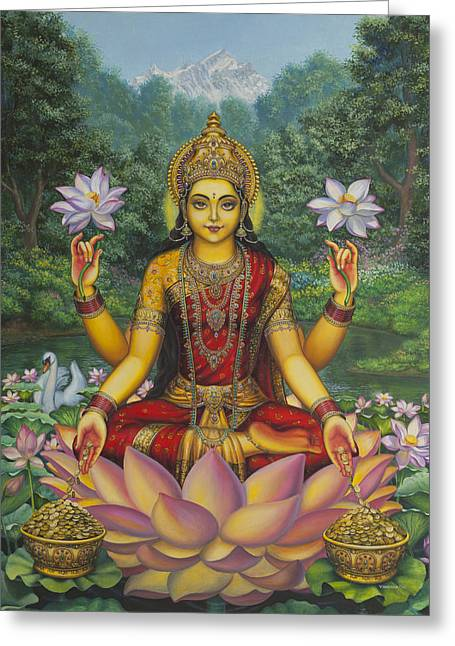 Goddess Greeting Cards - Lakshmi Greeting Card by Vrindavan Das