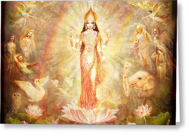 Landscape Framed Prints Greeting Cards - Lakshmi with Angels and Muses Greeting Card by Ananda Vdovic