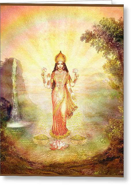 Hindu Goddess Greeting Cards - Lakshmi with the Waterfall Greeting Card by Ananda Vdovic
