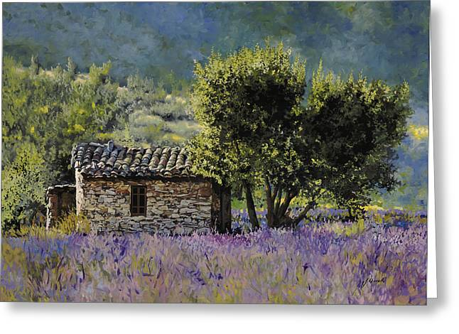 Lavender Fields Greeting Cards - Lala Vanda Greeting Card by Guido Borelli