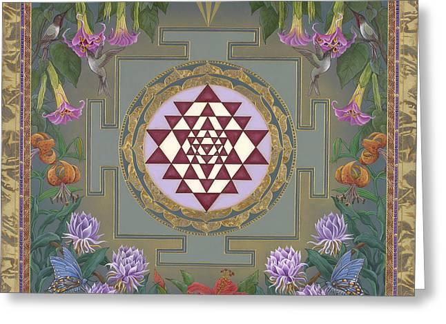 Hindu Goddess Paintings Greeting Cards - Lalitas Garden Sri Yantra Greeting Card by Nadean OBrien