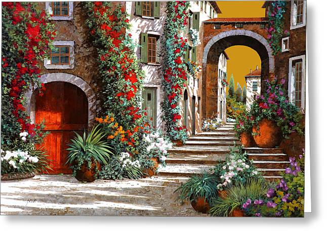 Red Greeting Cards - Laltra Porta Rossa Al Tramonto Greeting Card by Guido Borelli