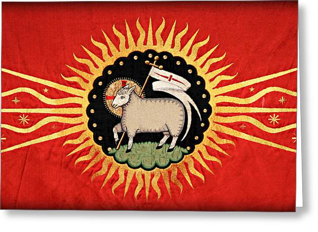 Medieval Tapestries Greeting Cards - Lamb of God Greeting Card by Stephen Stookey