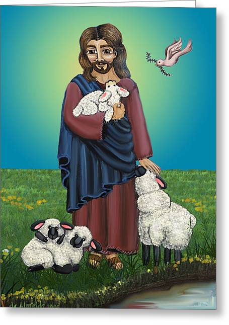 Catholic Art Greeting Cards - Lamb of God Greeting Card by Victoria De Almeida