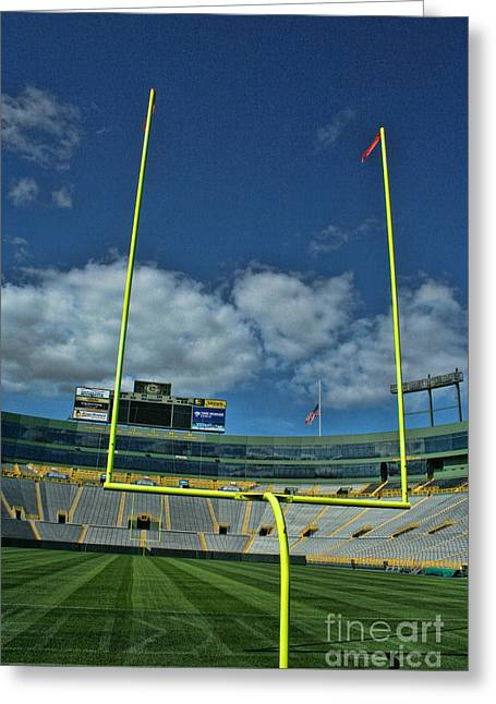 Lambeau Field Greeting Cards - Lambeau End Zone Greeting Card by Tommy Anderson
