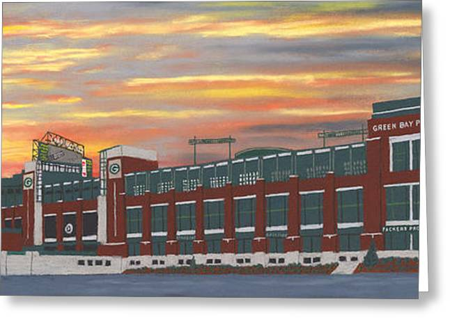 Pro Football Pastels Greeting Cards - Lambeau Sunset Greeting Card by George Burr